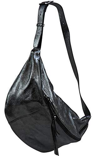 SH Leder echt Leder Damen unisex Brusttasche für Festival Reise gross Hüfttasche Crossbody Bag Frauen Ledertasche 49x28cm Daniela G768 (Anthrazit Metallic)