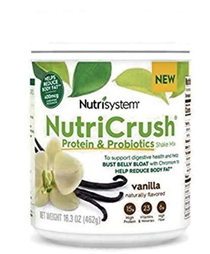 NUTRISYSTEM NutriCrush Shake (Protein & Probiotics) Vanilla Shake Mix 16.3 OZ - 14 Servings - Support Digestive Health & Help Bust Belly Bloat