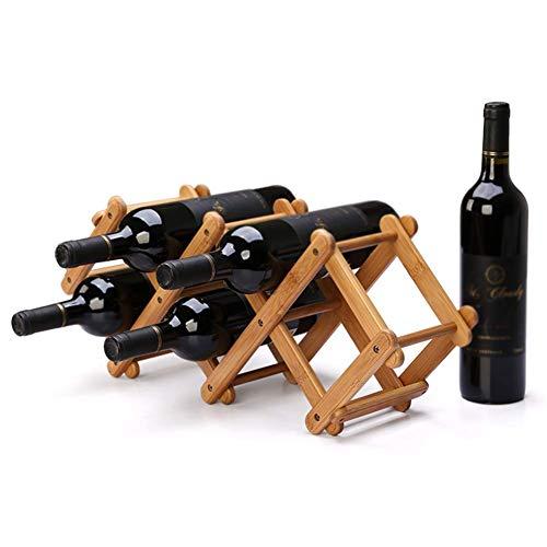BANNAB Botellero Plegable sobre encimera 5 Botellas  Soporte para Botellas de Vino de bambú   Estante Organizador de Almacenamiento   Accesorios para Vino de Cocina de encimera-53.5x15x21.5cm