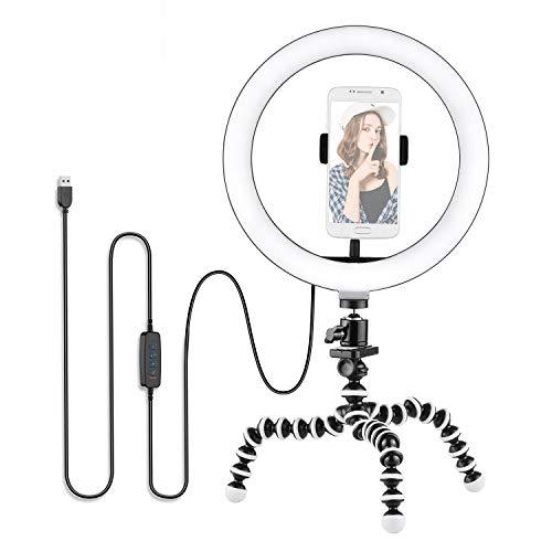 Flytise Kit de luz de Video de Anillo de 10 Pulgadas / 26 cm 3300K-5500K Luz de Anillo LED Selfie Regulable 3 Modos de iluminación + Trípode de Pulpo Flexible + Mini Cabeza esférica