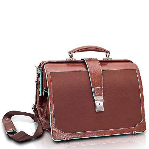 TREND'S maletín médico de piel y poliamida marrón