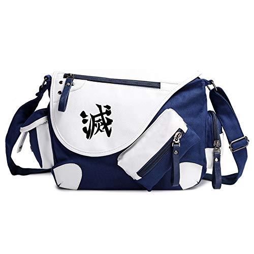 Nsddm Demon Slayer Anime Shoulder Bag Minus Word Logo Pattern Anime Lovers Satchel Canvas Fabric, Large Capacity, Can Hold Books, Tablets, Mobile Phones, Etc. Fitness Waybill Backpack Suitable For Adu