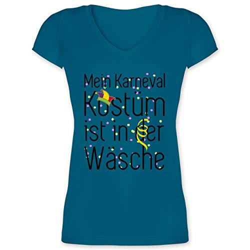 Karneval & Fasching - Mein Karneval Kostüm ist in der Wäsche - 3XL - Türkis - Shirt Damen wasch - XO1525 - Damen T-Shirt mit V-Ausschnitt