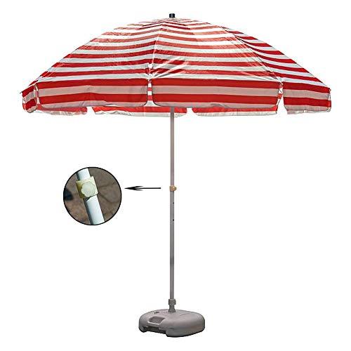 Parasol Umbrella Sun Protection Beach Paraguas, 82 pies para Picnics Backyard Fiestas, Paraguas de Patio con 8 Costillas de Alambre de Acero, Rayas Rojas