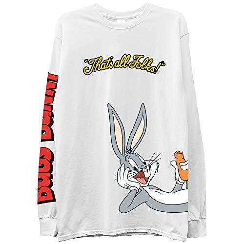 Looney Tunes Mens Classic Shirt Marvin Long Sleeve Tee - Space Jam 90's Long Sleeve T-Shirt (White, Medium)
