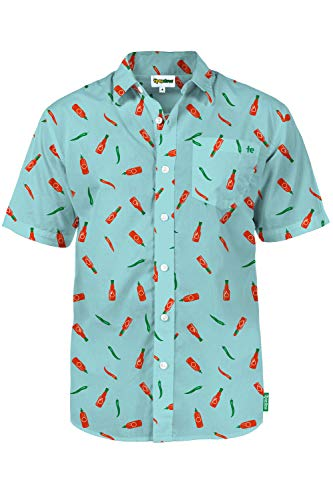 Men's Hot Sauce Summer Hawaiian Shirt: XXL Blue