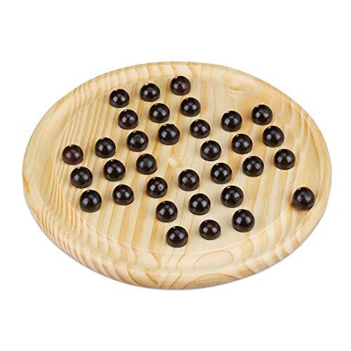 Relaxdays Solitaire Spiel, rundes Spielbrett, 33 Kugeln, Kinder & Erwachsene, 1 Spieler, Holz Brettspiel, natur/schwarz