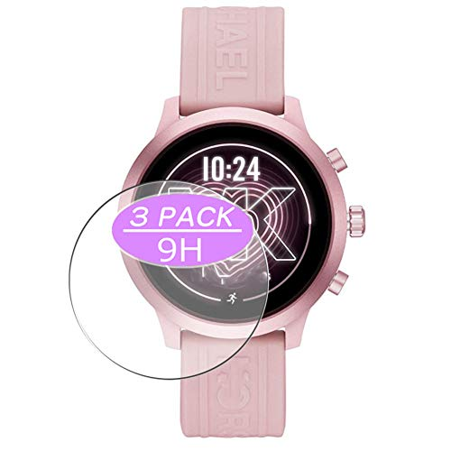 [3 Pack] Synvy Tempered Glass Screen Protector Compatible with Michael/Kors/Access/MKGO Smartwatch MKT5070 9H Protective Screen Film Protectors Smartwatch Smart Watch