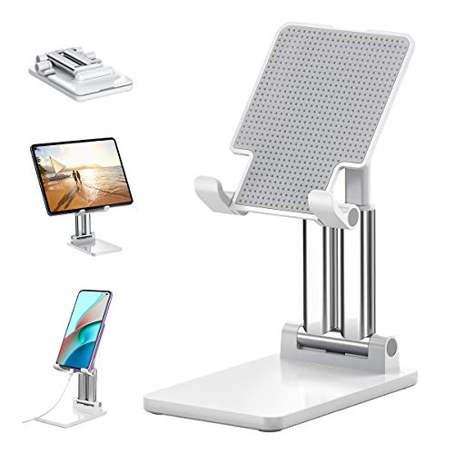 Tablet-Ständer, tablet halterung, handy halterung, verstellbarer Dual Tube handy ständer und faltbarer iPad halterung/ ständer ist kompatibel mit Tablet / Handy / iPad (4,7-12,9 Zoll empfohlen) (weiß)