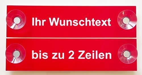 Hinweis Schild Saugnapfschild Wunschtext Gravur Rot Kunststoff 200x50mm (IHR WUNSCHTEXT)