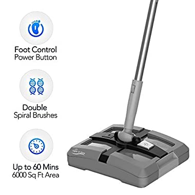 Electric Floor Sweeper- Rechargeable Cordless Floor Sweeper w/ Ergonomic Handle & Double Powerful Brushes, Up to 40 Minutes, Electric Broom Perfect for Home Office Hard/Bare Floor Cleaning