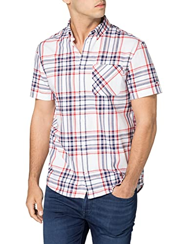 Tommy Jeans TJM Shortsleeve Check Shirt Camisa, Blanco/multicolor, S para Hombre