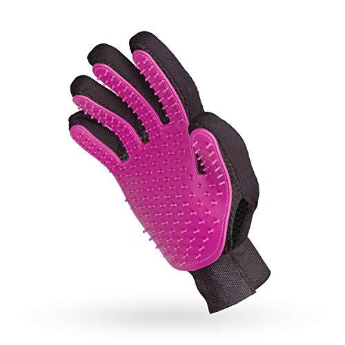 pretty petZ® Fellpflege-Handschuh | Einfache Entfernung lockerer Tierhaare | Für Hund & Katze in Profi-Tiersalon-Qualität (Pink)