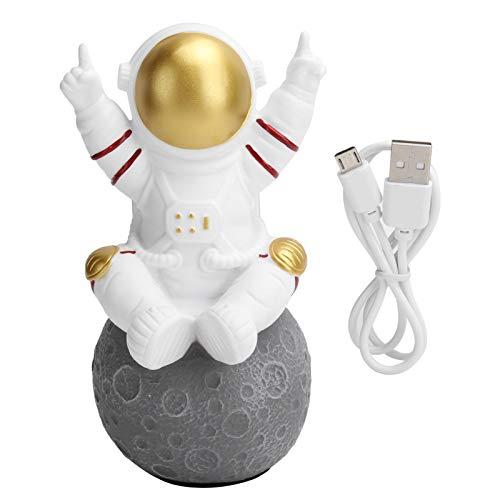 Gaeirt Haut-Parleur Bluetooth sans Fil Mignon Astronaut TWS Mini Haut-Parleur Portable avec Carte Mémoire FM, Son Surround Stéréo 360 °, Ornements de Décoration de Maison Pendentif Mignon(d'or)