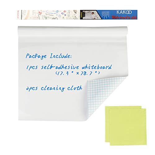 KAKOO Whiteboard Folie Selbstklebende Wiederbeschreibbar 44x199cm Tafelfolie Magic Chart Weiß Wandtafel DIY Kinder Wandfolie für glatten Oberflächen in Schule Büro Haus (B-3stk)