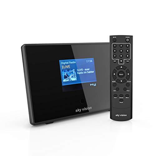sky vision DAB 200 S Digital Radio Adapter (Bluetooth Adapter) - Bluetooth Empfänger für Stereoanlage und HiFi, Radio Receiver (UKW + DAB), mit Radiowecker und LCD Display, schwarz