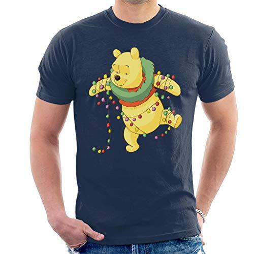 Disney Christmas Winnie The Pooh Tangled in Festive Lights Men's T-Shirt Navy Blue