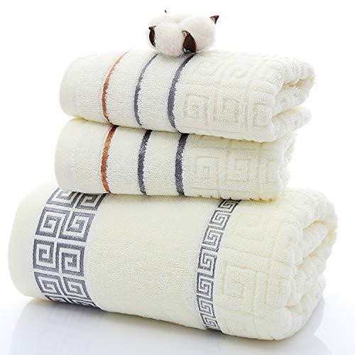 BASA100% Toalla de baño de Gran tamaño Toalla de algodón Toalla de baño Juego de Tres Piezas súper Suave Estilo Egipcio algodón Suave Absorbente de algodón70 * 140 cm(1)34 *70 cm(2)