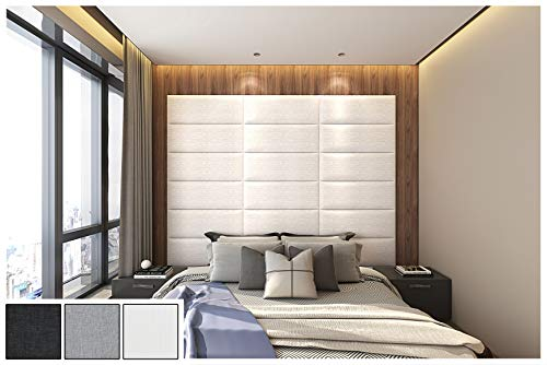Art3d Removable 3D Leather Cladded Décor Wall Panel-Sized 31.5x11.8inches Pack of 8pcs in White for Bed Headboards Queen, Accent Wall, Acoustic Panel, Cushion Wall Tile etc.