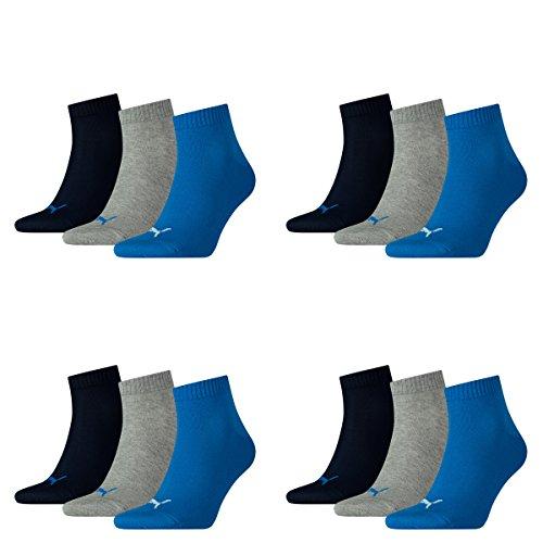 PUMA 12 Paar Unisex Quarter Socken Sneaker Gr. 35-49 für Damen Herren Füßlinge, Socken und Strümpfe:39-42, Farbe:277 - blue/grey mélange