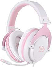 SADES MPOWER Stereo Gaming Headset for PS4, PC, Mobile, Noise Cancelling Over Ear Headphones with Retractable and Flexible Mic & Soft Memory Earmuffs for Laptop Nintendo Switch Games-Angel Edition