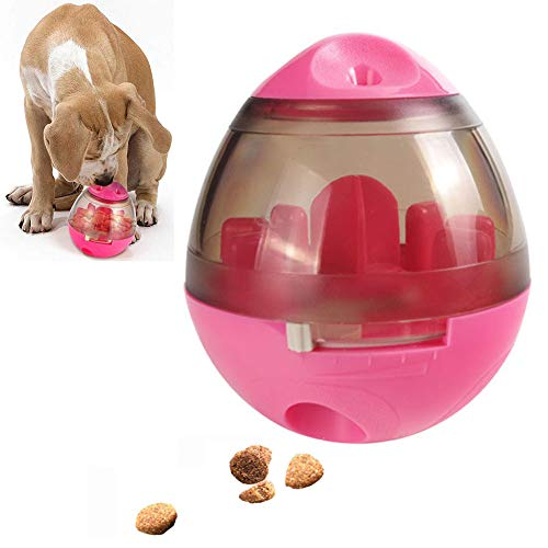 Huiit Hundespielzeug Ball Tumbler Spielzeug Haustierfutter Ungiftig Bite Resistent Spielzeug Ball Naturkautschukreiniger Langlebig,Rosa