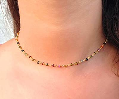 Natural TOURMALINE Choker Necklace Faceted Rondelle Beads 24k Gold Plated Wire Wrapped Rosary Vermeil Chain.