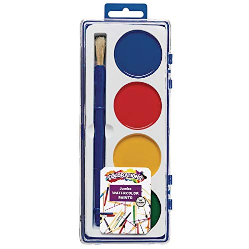 Colorations Best Value Watercolor Set for Beginners - 4 Colors in Plastic Case with Brush