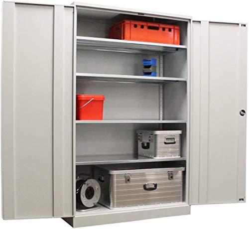 Koloss Werkstattschrank verzinkt | Materialschrank GRAU 195x120x60 vollverzinkte Fachböden