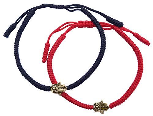 LUCKY BUDDHIST Tibetan Pulseras de la Suerte + Colgante/Collar! Amuletos para Mujeres Hombre Adolescente, tamaño Ajustable. Muñequeras de Amistad, Hecho a Mano de Cuerda. La Mano de Fatima Rojo Negro