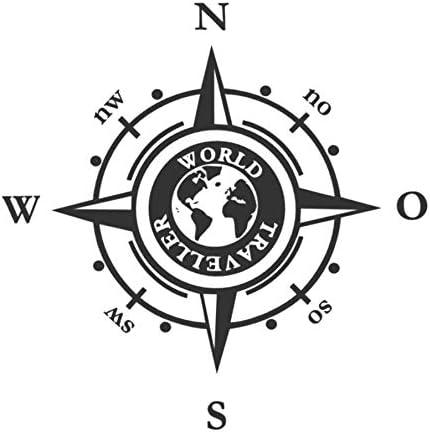 Generic Kompass 20cm 30cm Wohnmobil Caravan Auto Aufkleber Kompassrose Windrose 205 1 30x30cm Schwarz Glanz Garten