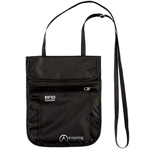 Inspiring Adventures Neck Wallet, Brustbeutel mit RFID Sicherheit / Schutz, Wasserfestes Umhängeband, reisepässe tasche - Reisegutentasche (Schwarz)