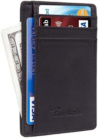 Travelambo Front Pocket Minimalist Leather Slim Wallet RFID Blocking Medium Size CH Black P product image