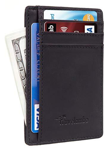 Travelambo Front Pocket Minimalist Leather Slim Wallet RFID Blocking Medium Size(CH Black P)