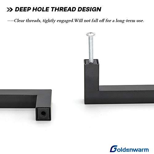 goldenwarm Matte Black Cabinet Pulls Kitchen Hardware 10Pack - LSJ12BK204 Square Bar Pulls for Cabinets Hardware Black Drawer Pulls,8in Hole Centers,8-1/2in Overall Length
