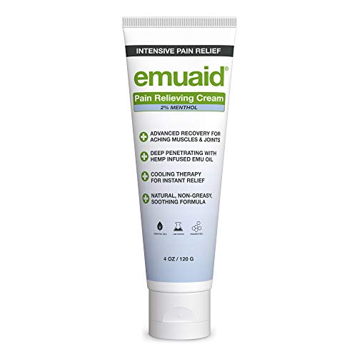 EMUAID Pain Relieving Cream 4oz - Relief for aching muscles, shoulder, neck joint, lower back aches, hip, knee joints, leg, feet, nerve pain, inflammation, sciatica, and arthritis.