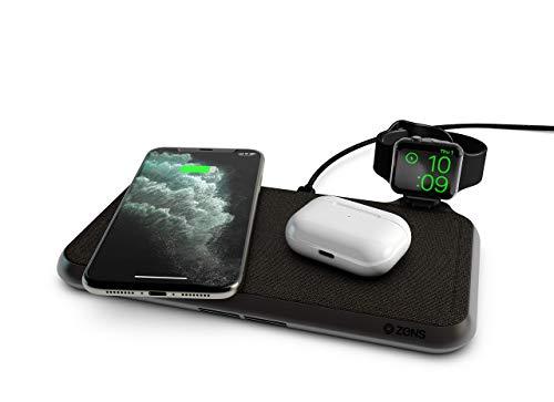 ZENS Liberty Dual Wireless Ladepad mit Stoffoberfläche, 16 Spulen, 2 x 15 W Ausgangsleistung, unterstützt Apple und Samsung Fast Charge, funktioniert mit Allen Handys mit kabellosem Aufladen