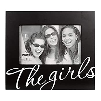 Malden International Designs The Girls in Cursive Words Picture Frame 4x6 Black