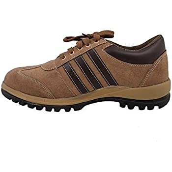 Neosafe Sporty Brown A5008 PVC Leather Safety Shoes, Size 8, Brown