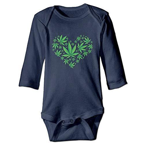 SDGSS Bodysuits Hart Marihuana Blad Wiet Liefde Pot Unisex Baby Lange Mouw Bodysuit 100% Katoen