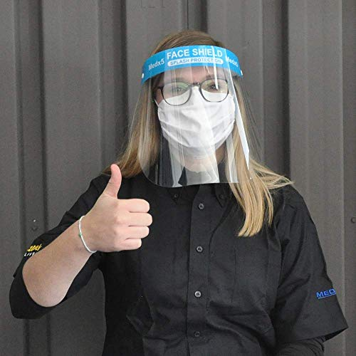 MedX5 (Upgrade 2020) 3X Gesichtsschutz,Visier aus Kunststoff, Face Shield, Visier zum Schutz vor Flüssigkeiten, Gesichtsvisier für Mund Nase, Schutzschild mit verstellbarem Gummiband