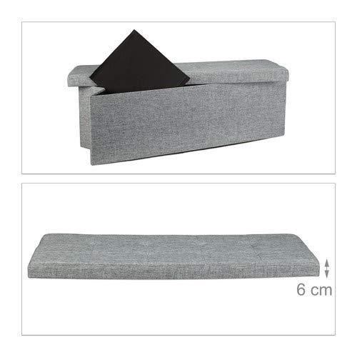 Relaxdays Faltbare Sitzbank XL HBT 38 x 114 x 38 cm stabiler Sitzcube mit praktischer Fußablage als Sitzwürfel aus Leinen als Aufbewahrungsbox mit Stauraum und Deckel zum Abnehmen für Wohnraum, grau - 5