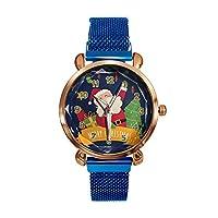 ACHICOO 腕時計 レディース メリークリスマス クォーツ時計 サンタクロース X-masツリー ファッション 誕生日プレゼント 青