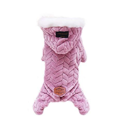 Abrigo para perros de mascotas Otoño Invierno Espeso Chaleco Chaleco Chaleco Pequeños Perros Medianos Traje Caliente Con Sombrero De Piel Gorra Con Capucha De Moda Gruesa #G5-Rosa-