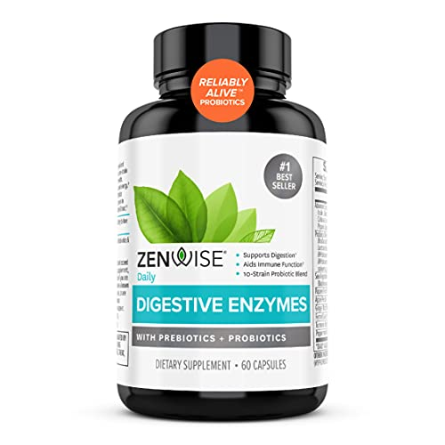 Zenwise Digestive Enzymes Probiotics and Prebiotics - Digestion and Bloating Relief for Women and Men, Lactose Absorption with Amylase & Bromelain, 60 Count