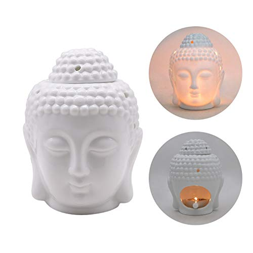 White Ceramic Buddha Head Aromatherapy Aroma Oil Burner Candle Holder Thai Buddha Head Design Ceramic Wax Melt Warmer Essential Oil Burner Tealight Candle Holders with Spoon for Home Decor (White)