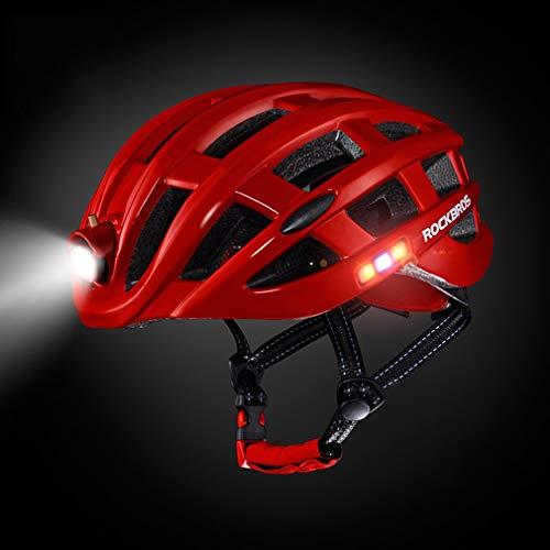 YGQNH Casco De Ciclismo De Bicicleta, Casco De Bicicleta para Adultos con Luz USB Recargable, Casco De Bicicleta para Hombres, Mujeres, Ciclismo De Montaña