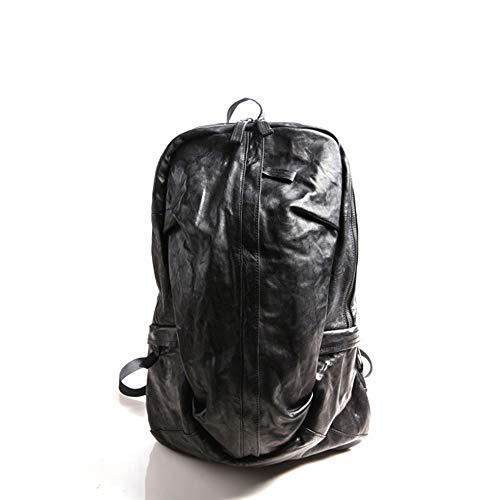XinMeiMaoYi Mochila para exteriores para hombre, estilo retro, de piel, para viajes al aire libre, color negro