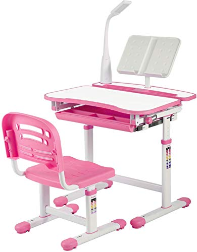 UNIHOM Kids Desk and Chair Set,Height Adjustable Children Study Table with Wood Tabletop,Bookstand,Pull-Out Drawer Storage and Touch Led for School Student (Pink)