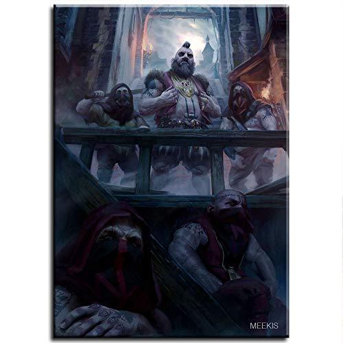Pintura Diy Pinturas al óleo por número The Witcher Juego de cartas King Power Lost Warrior Duel Bear Horror Demon Aprendizaje Habilidades 40X50Cm Sin marco